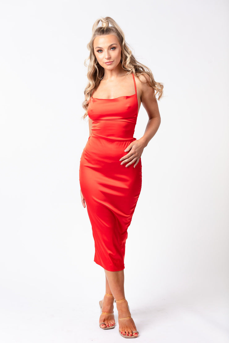 Cowl neck satin midi dress red