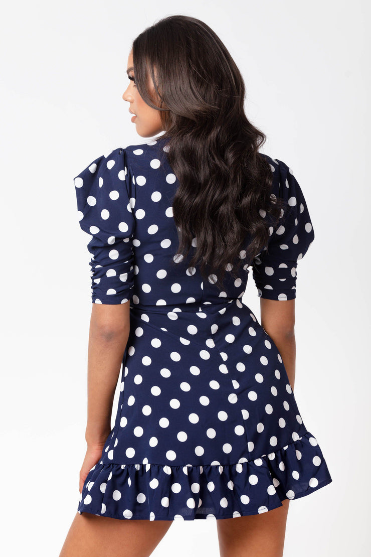 Navy polka dot puff sleeve dress