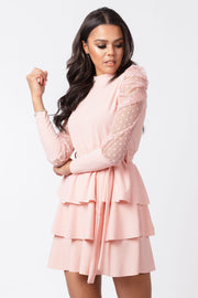 Polka dot mesh sleeve tiered mini dress