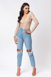 Beige lace sheer long sleeve bodysuit