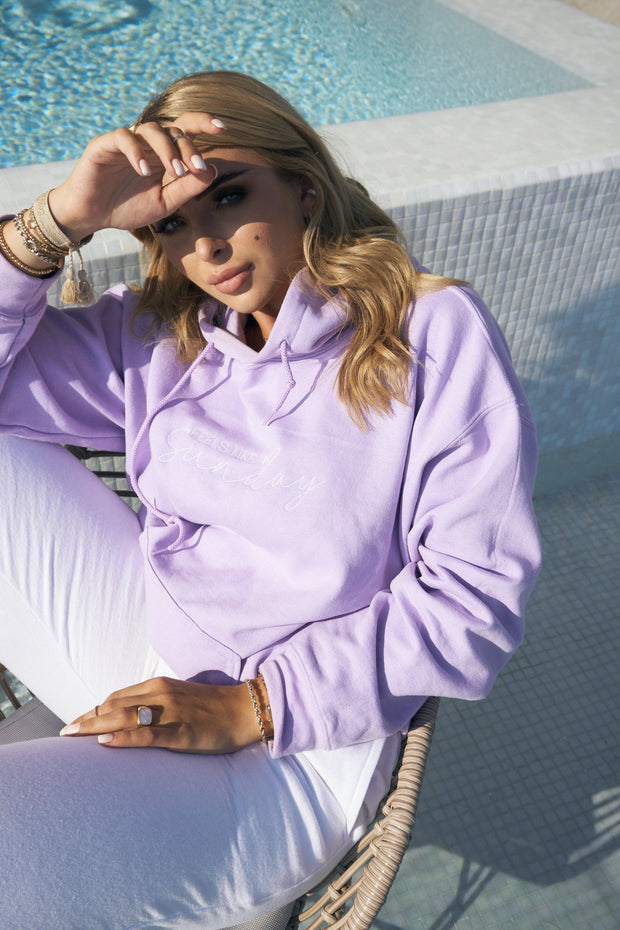 Lilac embroidered hoodie