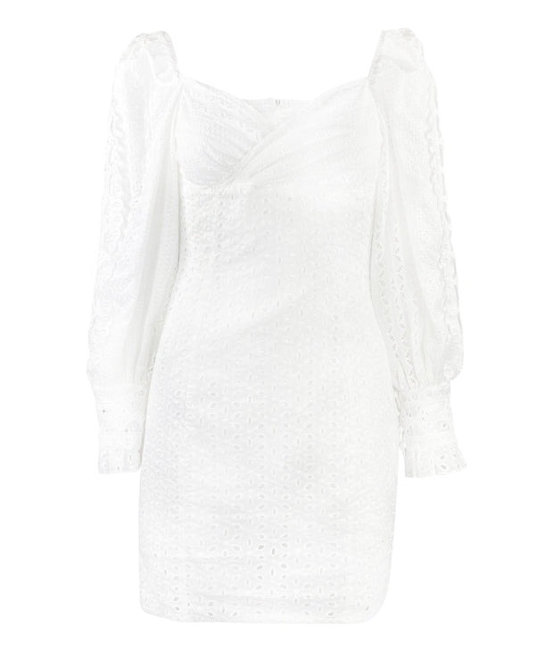 White broderie anglaise mini dress