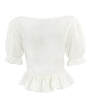 White pearl button square neck top