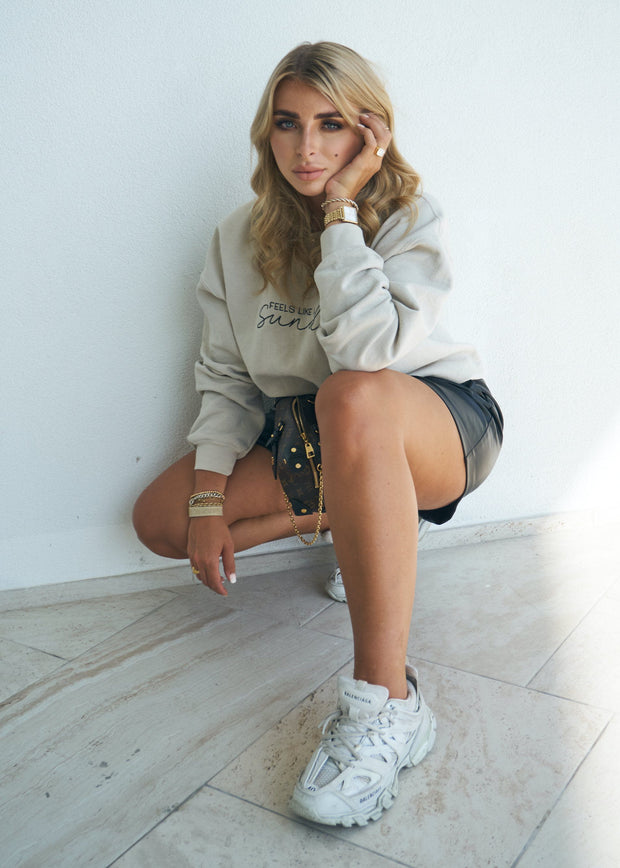 Beige embroidered sweatshirt