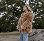 Light camel faux fur coat