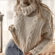 Cream cable knit roll neck jumper