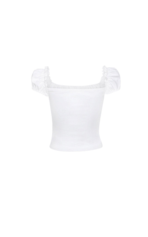 White corset lattice top