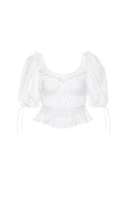 White puff sleeve milkmaid blouse