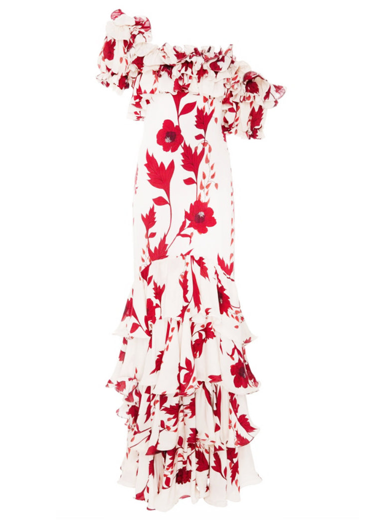 Red and white floral frill maxi dress