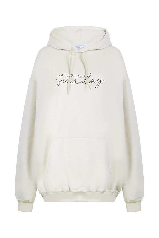 Beige embroidered hoodie
