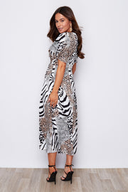 Animal print angel sleeve midi dress