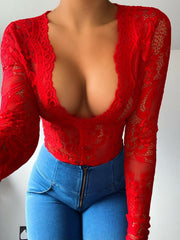 Red lace sheer long sleeve bodysuit