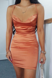 Cowl neck satin mini dress rust