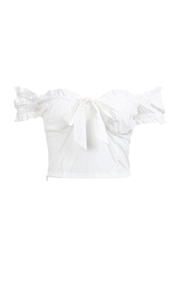 White bardot crop top with bow detail
