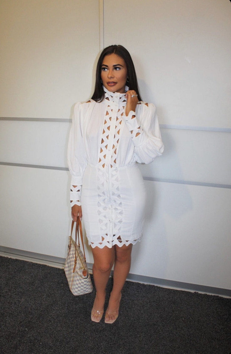 White laser cut Dress