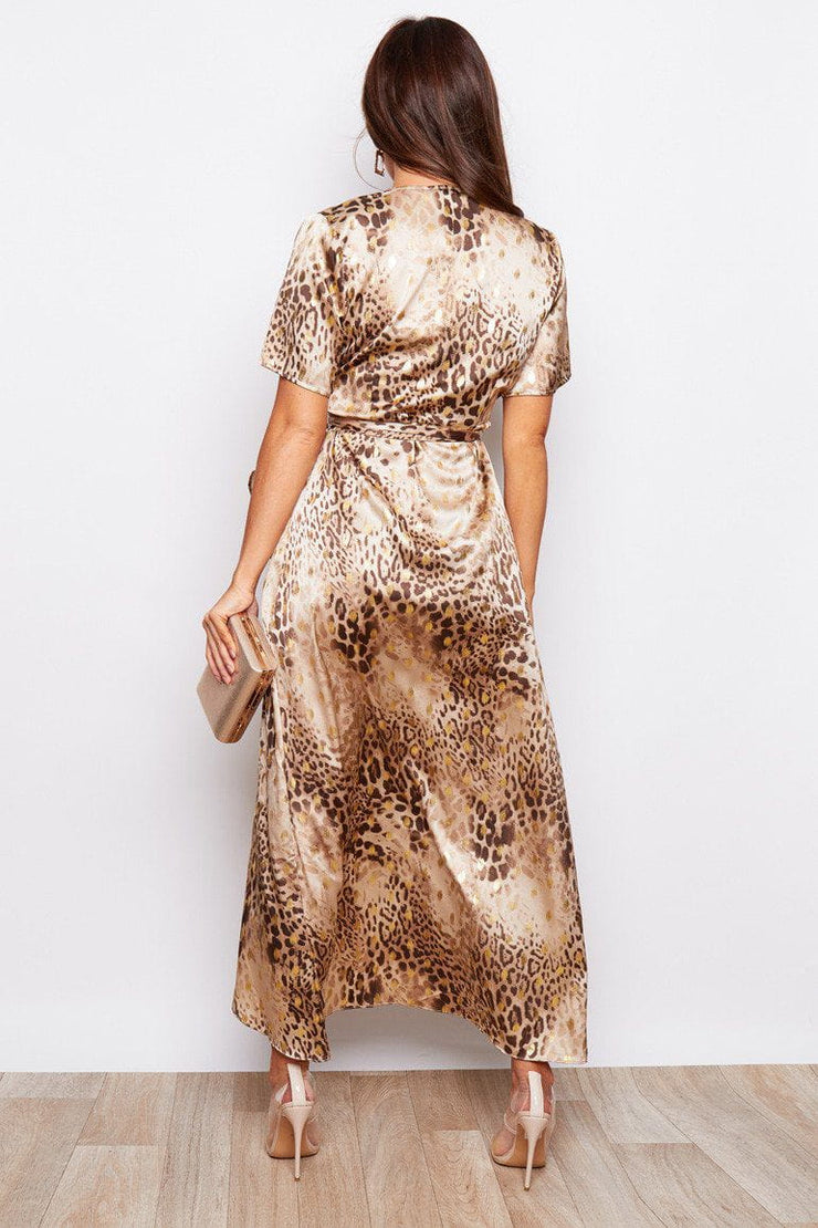 Animal print split hem frill detail dress