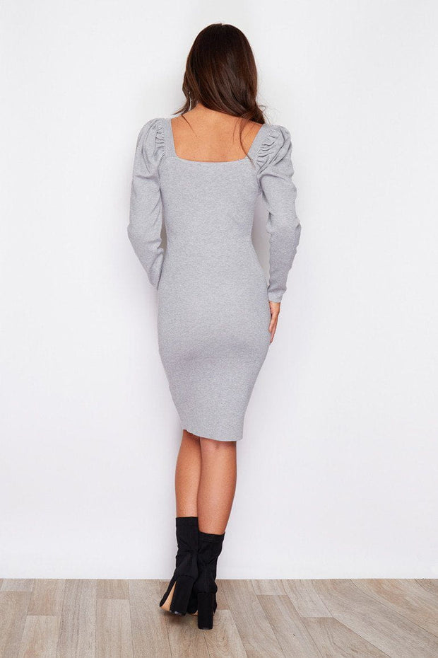 Grey puff sleeve knitted dress
