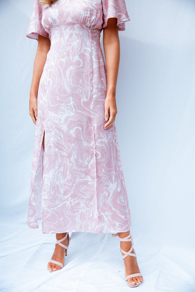 Marble print angel sleeve midi dress