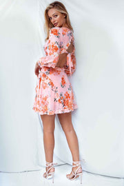 Blossom frill long sleeve printed dress