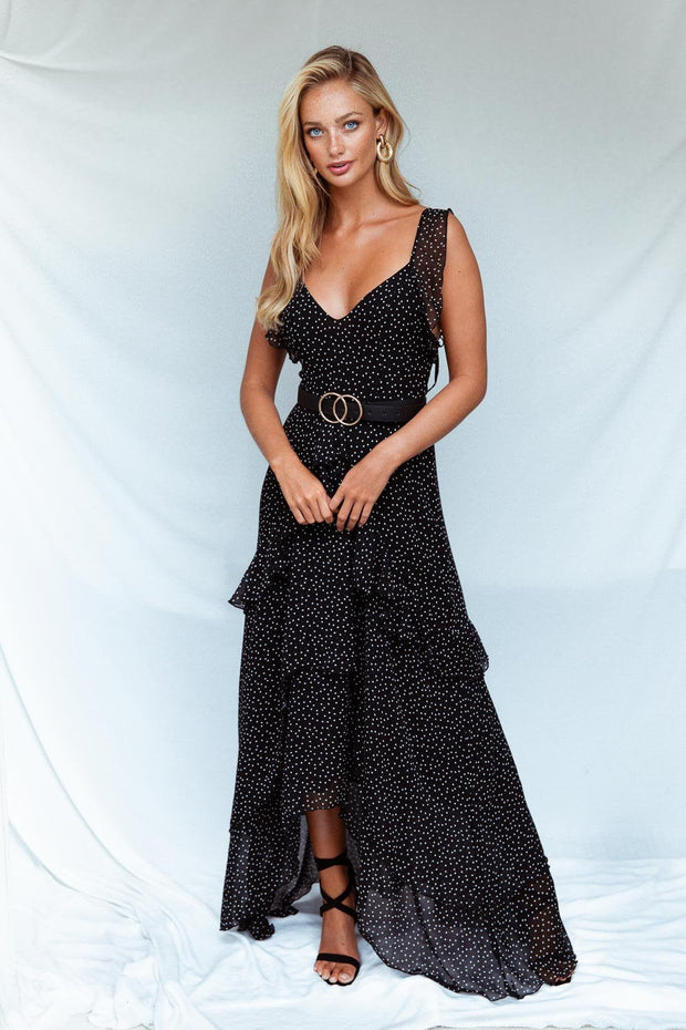 Black polka dot ruffle sleeveless maxi dress