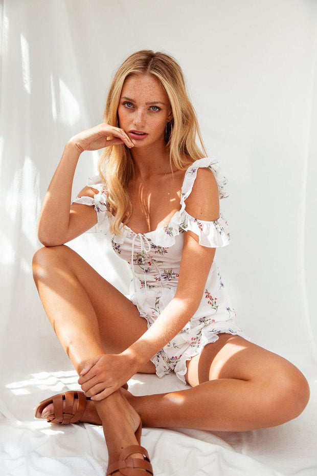 White floral print cold shoulder playsuit