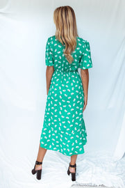 Green floral v neck button wrap dress