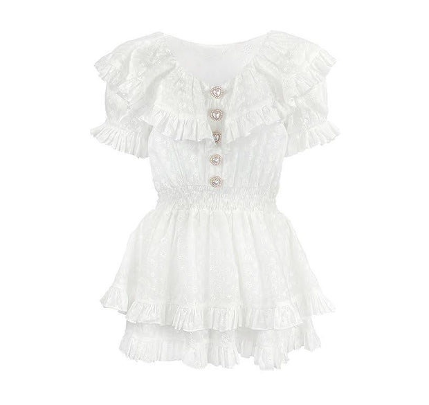 White pearl button broderie anglaise smock top