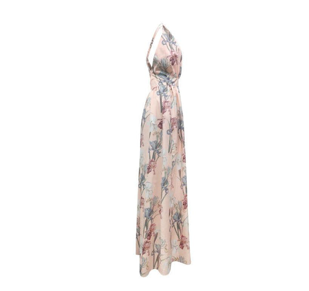Floral plunge backless maxi dress