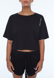 UNDERCOAT Womens Crop UC Black T-Shirt