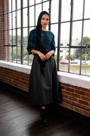 GREY PLEATED WOOL SKIRT
