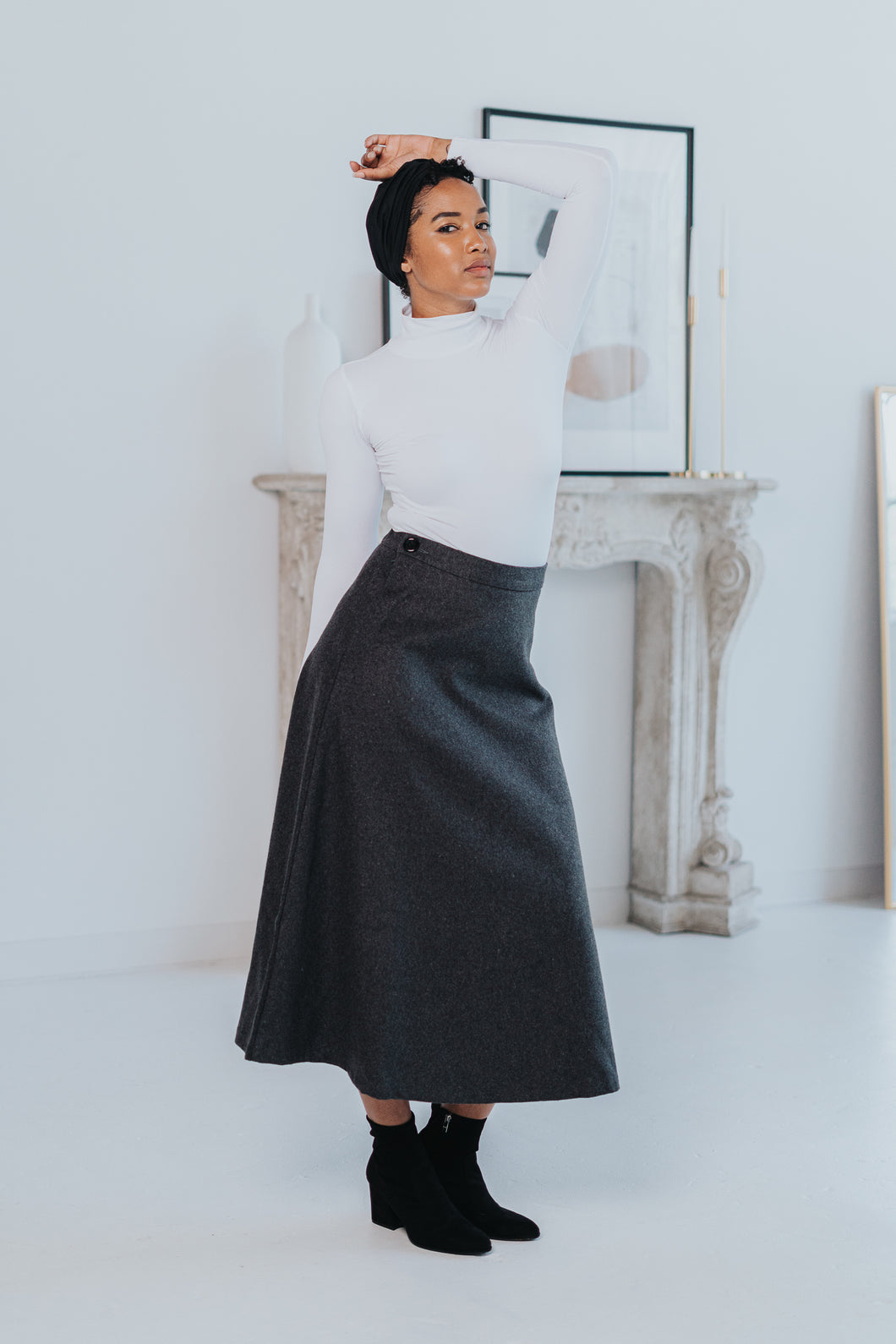 HIGH WAIST WOOL SKIRT