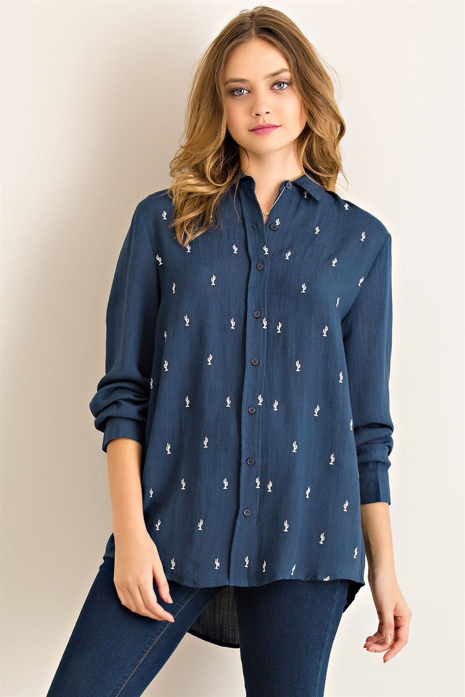 Solid crinkle button down shirt