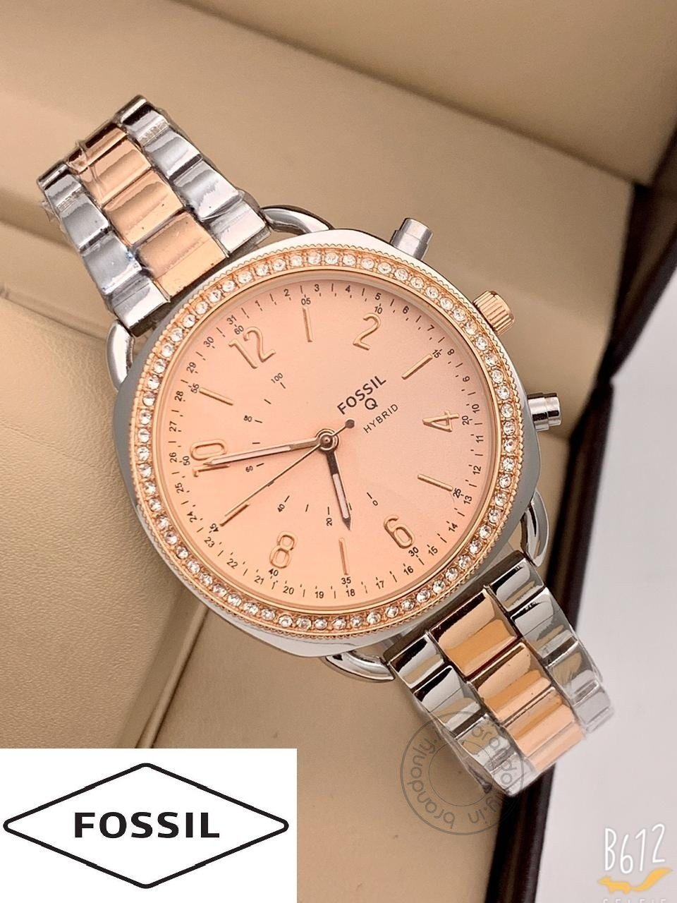 Fossil Q Hybrid Women's Watch For Girl Or Woman Es543 Rose Gold Dial Metal Silver Gold Strap - Best Gift