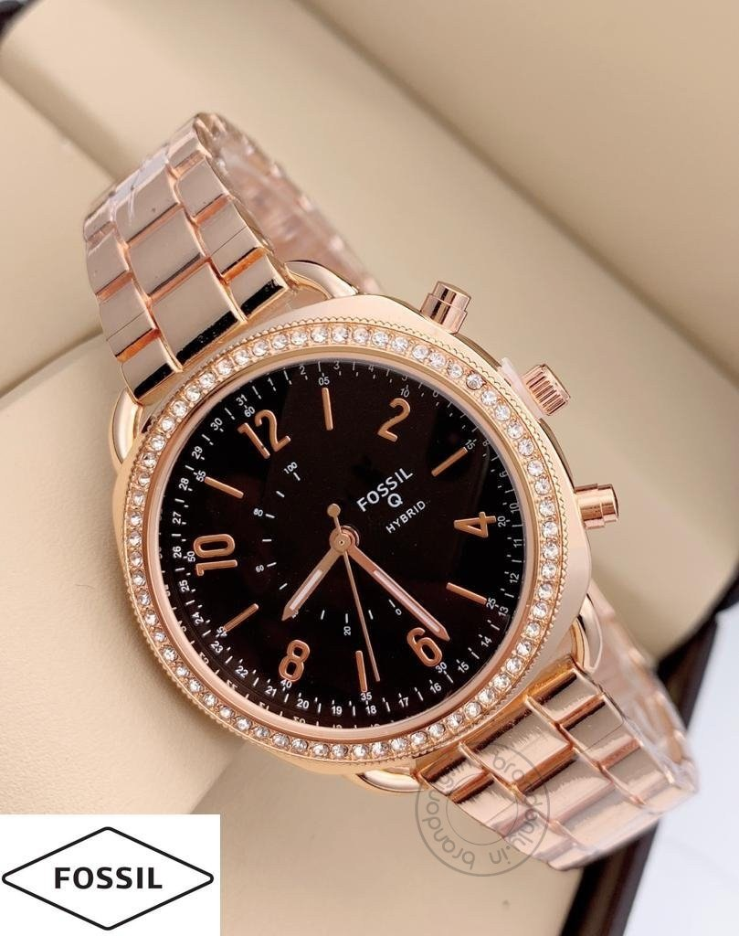 Fossil Q Hybrid Women's Watch For Girl Or Woman Fs-Lad-Gb Rose Gold Metal Strap Black Dial - Best Gift
