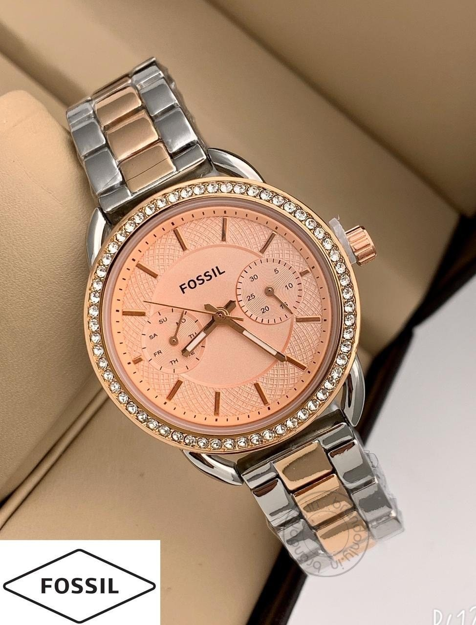 Fossil Rose Gold Silver Women's Watch For Girl Or Woman Es-532 Two Tone  Peach Dial- Best Gift For Women