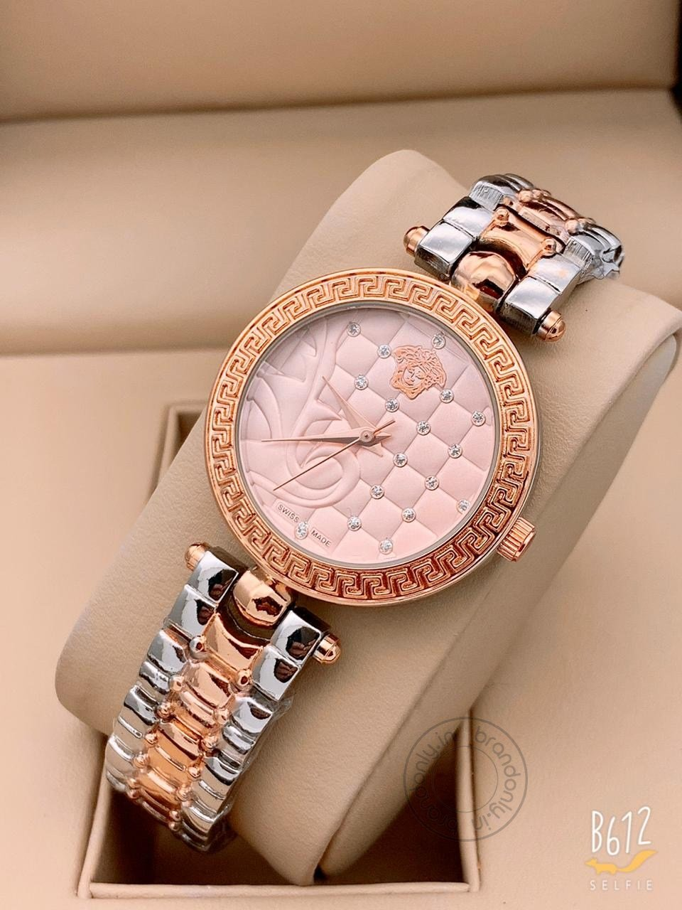 Versace Multi Color Rose Gold New Stylish Branded Women's Watch For Women And Girls Rose Gold Dial Ver-334