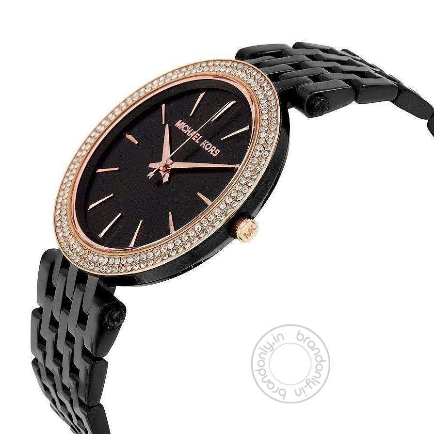 Michael Kors Darci Black Women's Watch For Girl Or Woman Gold Diamond - Mk3407 Best Gift