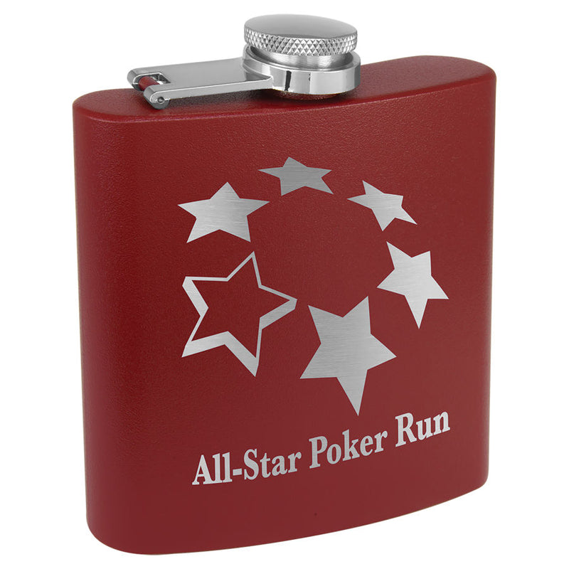 6 oz. Matte Maroon Stainless Steel Flask