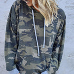 Hooded Camouflage Drawstring Design Sweatshirt