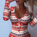 Christmas Print Button Front Onesie
