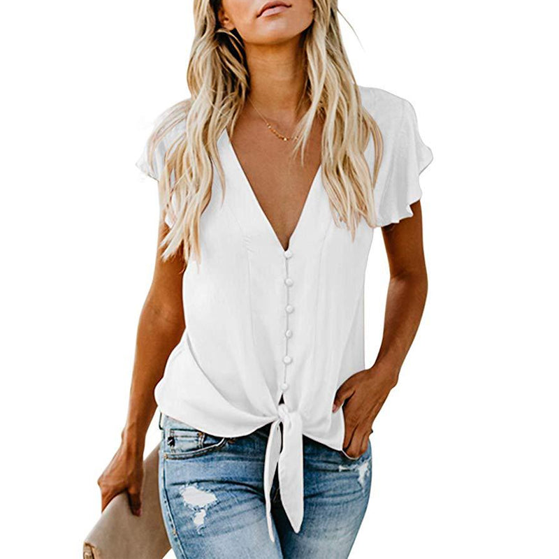 V-Neck Self-Tie Knot Blouse
