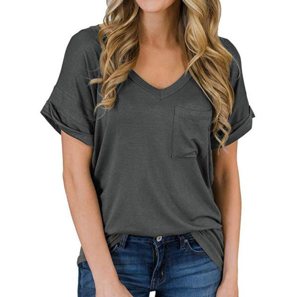 Short Sleeve V-Neck Shirts Loose Casual Tee T-Shirt