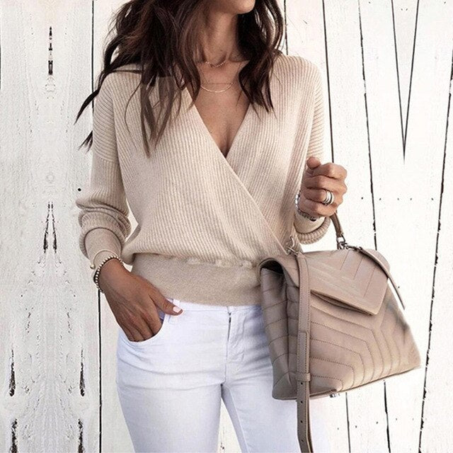 Solid V-Neck Long Sleeve Wrap Sweater