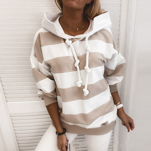 Striped Colorblock Long Sleeve Hooded Sweatshirt