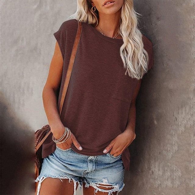 Short Sleeve Tunic Tops Basic Loose T Shirts Solid Color Batwing Sleeve Casual Tee with Pocket
