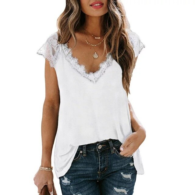 Women's V Neck Lace Tank Tops Summer Casual Sleeveless Shirts Side Split
