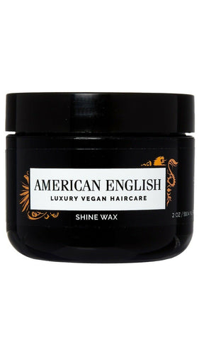 American English Luxury Vegan Haircare Wax Shine 59.14ml  All the jobs of a styling cream, texturised, anti-humidity and treatment combined with added shine, leaving hair with a healthy nourished look with soft but defined texture.  This jar of do it all nourishes with a cocktail of oils that protect, moisturise and heal.  Added Macadamia oil protects the hair from UV Rays and Argan oil eliminates frizz.