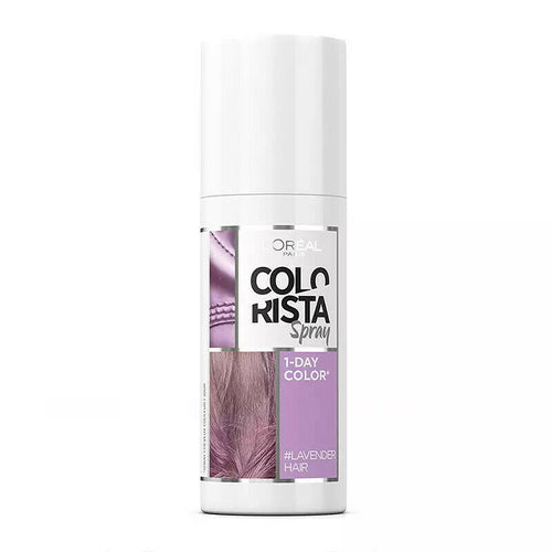 L'Oreal Colorista Spray 1 Day Colour #Lavender 75ml  A 1 Day Instant Colour Spray  Washes off with one shampoo  Spray longer for a more intense colour  For a mermaid look, different colours on separate strands