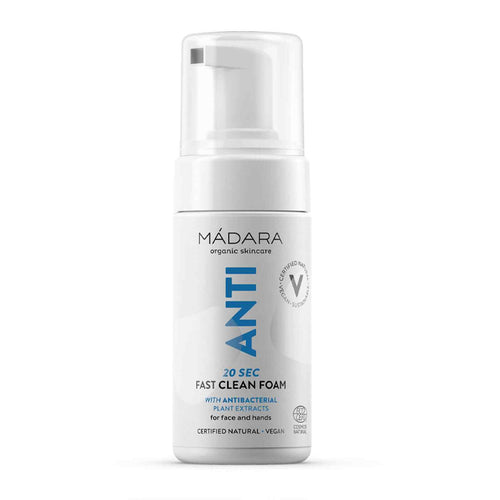 Madara Organic Skincare ANTI 20sec Fast Clean Foam for Face and Hands 100ml  Antibacterial instant cleansing foam for your hands and face  Soothing extracts of Cranberry, Quince, Camomile and Centella Asiatica  - Vegan  - Certified Natural Formula  - No Shady Ingredients  - Ocean Waste Bottle  - 1 Bottle equals six plastic bags  - 100% Recyclable