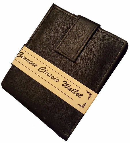 Mens Formal Bi-Fold Coin Compartment Black Wallet holds Cash Notes ID Leather  Lovely Men's Bi-Fold Black Genuine Leather Wallet with the following features  (Holds cash notes)  (ID or photo window slot)  (Coin compartment)